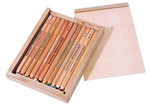 Holzschiebebox M, gefüllt mit 12 Buntstiften (Avantgarde Riesenzauber, natur)
