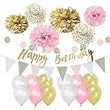 Easy Joy Decoration Anniversaire Fille Rose Or Blanc Ballon Deco Happy Birthday Guirlande Anniversaire Fille Kit