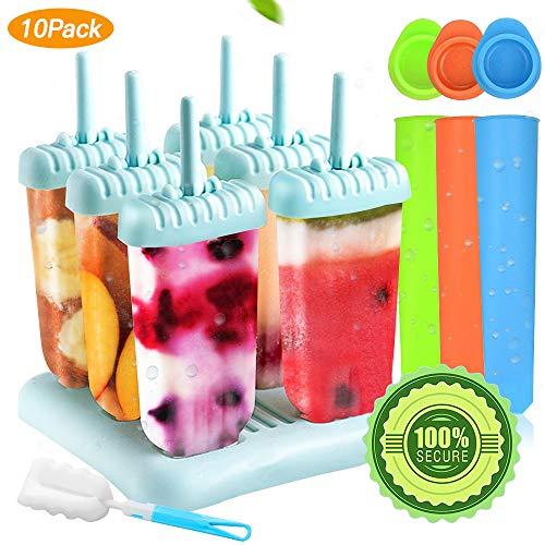 Specool 6 Eisformen Popsicle Formen EIS am Stiel BPA Frei Set,3 Stück Eislutscher Popsicle Formen, LGFB Geprüft und Bra Frei, mit Reinigungsbürste (Blau2)