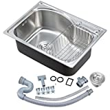 Single Bowl Kitchen Sink Voilamart Stainless Steel 1.0 Single Bowl Square Kitchen Sink with Drainer, Waste and Dish Drainer Rack, Size 560x410mm/22