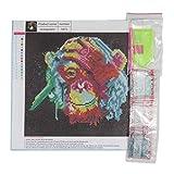 Heaviesk 30 * 30 cm Farbe AFFE Stickerei DIY Handvoll Runde Diamanten Überzogene 5D Kreuzstich Gemälde Handcraft