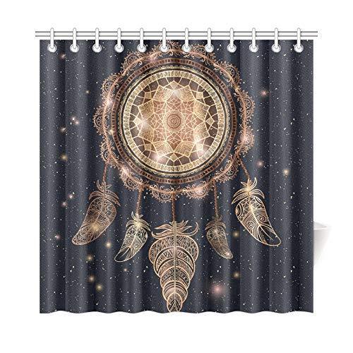 Cortina de baño para decoración del hogar Talismán indio nativo americano Atrapasueños Tela de poliéster mágico Cortina de ducha impermeable para baño, cortinas de ducha de 72 x 72 pulgadas Ganchos in