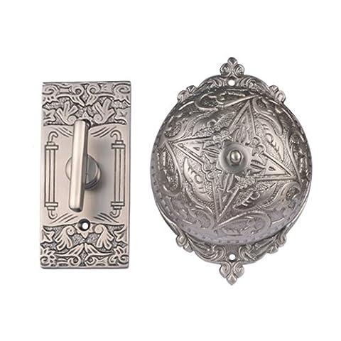 Adonai Hardware Belshazzar Brass Manual Old Fashion Door Bell or Twist Door Bell or Hand-Turn Door Bell - Antique Brushed (Brass Bell Hardware)