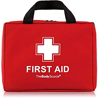 220 Piece Premium First Aid Kit Bag - Includes Eyewash, 2 x Cold (Ice) Packs and Emergency Blanket for Home, Office, Car, Caravan, Workplace, Travel and Sports (Red)