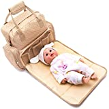 Baby Bucket Baby Diaper Nappy Changing Baby Diaper Bag/Baby Bag/Mummy Bag/Handbag/Stylish Maternity Com Travelling Backpack 5 In 1 Polka Dots Waterproof Bag (Light Brown)