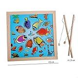 Juego de pesca para niños Magnético De madera Educación temprana Mejorar la inteligencia Adecuado para 1-3 años , picture color