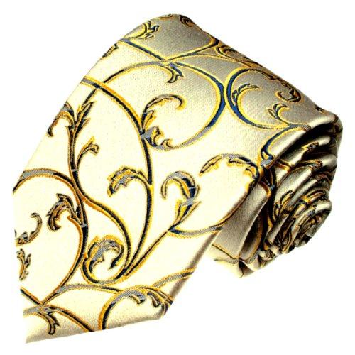 LORENZO CANA - Handgefertigte Luxus Krawatte aus 100% Seide - Seidenkrawatte Gold Gelb Blau Ranken - 42047 (Mantel Nadelstreifen Anzug)