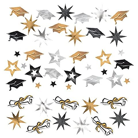 Amscan Graduation Party Caps and Stars Confetti Decoration (Pack Of 1), Black/Silver/Gold, 12 oz