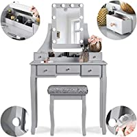 Arianna Deluxe Hollywood 5 Drawer Bedroom Dressing Table Set with LED Lights Vanity Mirror and Stool in Grey