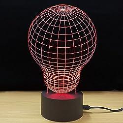 Lámpara De Mesa 3D Creativity Luminous LED Bulb Modelado Night Light Bedroom Lámpara De Cabecera Día De San Valentín Presente,Red