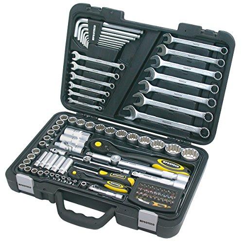 Proteco-Werkzeug® Profi-Steckschlüsselsatz Steckschlüsselkasten 1 4 und 1 2 Zoll 102 Teile Ratschenkasten Knarrenkasten