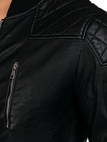 BOLF Herren Kunstlederjacke Sweatjacke Übergangsjacke Steppjacke Mix 4D4 Biker Schwarz_9156