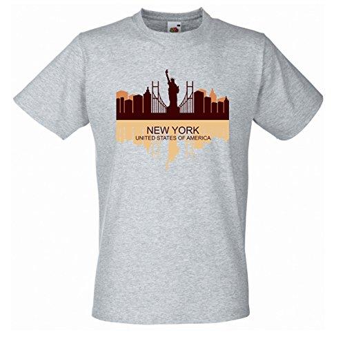 New York City Skyline - Fun - T-Shirt Herren Grau