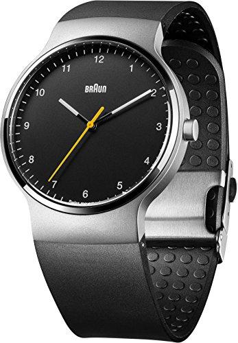 Braun Men's Watch Prestige Slim Silicone Quartz Watch with Black Dial Analogue Display BN0221BKSLBKG