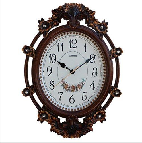 Weide Rose (Home Uhren und Uhren Rose Uhren Retro-Weiden europäischen Stille Uhren Wohnzimmer kreative dekorative Quarzuhren , dark)