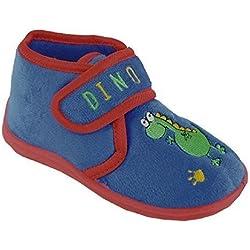 Infantil / Bebés / Niño Pantuflas con GANCHO Y CORREAS CIERRE ~ Dinosaurio o Cocodrilo - Azul Dinosaurio, 37 EU