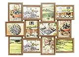 levandeo Holz Bilderrahmen Farbe: Nussbaum braun hochwertig verarbeitet für 12 Fotos 13x18cm mit Glasscheiben - Querformat und Hochformat Fotogalerie Collage Fotocollage Bildergalerie Fotorahmen