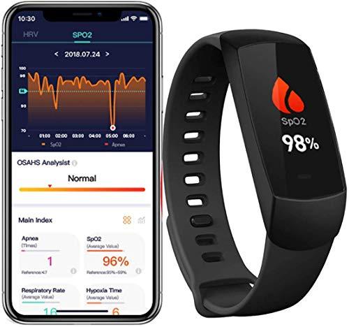 Lunasea Schlafmonitor Wireless SpO2 Pulsoximeter Handgelenk mit Alarm Vibration Intelligenter Sensor für obstruktiver Schlafapnoe Tracker Herzfrequenz