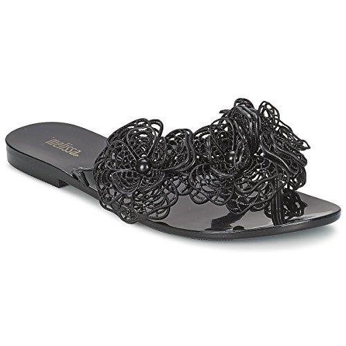 Melissa Shoes Harmonic Garden Flower Flip Flop, Black A Black