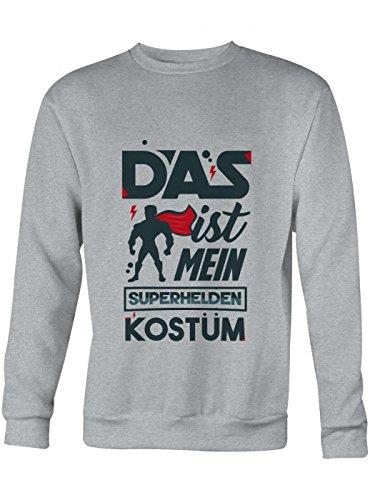 Shirt Happenz Verkleidung Superheld Premium Sweatshirt | Kostüm | Karneval | Fasching | Unisex | Sweatshirts, Farbe:Graumeliert;Größe:3XL
