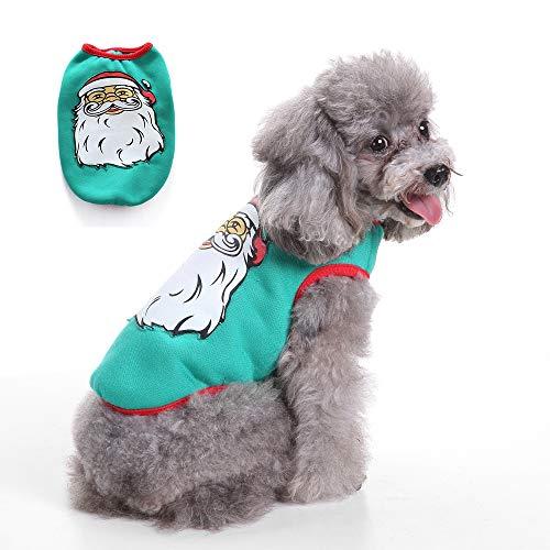 UTOPIAY Haustier Weihnachtskostüm, Weihnachtsmann Muster Weste, Weihnachtsfeier Geburtstag Kostüm Cosplay Zubehör für Katzen und Welpen Teddy,S