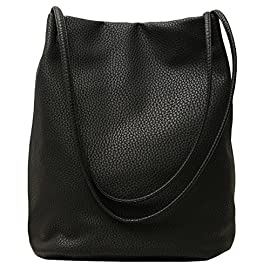 Lecxci Women's Long Handle PU Leather Shopper Shoulder Tote Bucket Hobo Bag Handbag for Shopping, Holiday, Travel