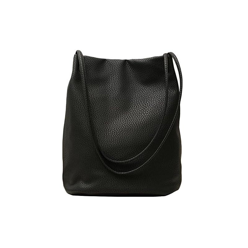 Lecxci Women's Long Handle PU Leather Shopper Shoulder Tote Bucket Hobo Bag Handbag for Shopping, Holiday, Travel