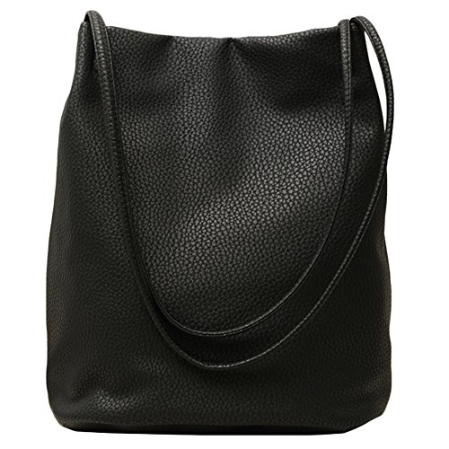 - 51oygWM2vaL - Lecxci Women's Long Handle Leather Shopper Shoulder Tote Bucket Hobo Bag Handbag for Shopping, Holiday, Travel