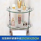 Badezimmer Badezimmer Glas Regal Doppel Eckrahmen Bad Armaturen Stativ Haken, 682 (25X25)