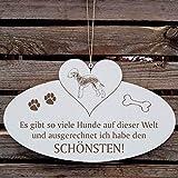 SCHILD Dekoschild mit Herz « Schönster HUND der WELT - BEDLINGTON TERRIER » ca. 20 x 12 cm - mit Motiv und Spruch - Shabby Vintage Holzschild Türschild - Jagdhund England