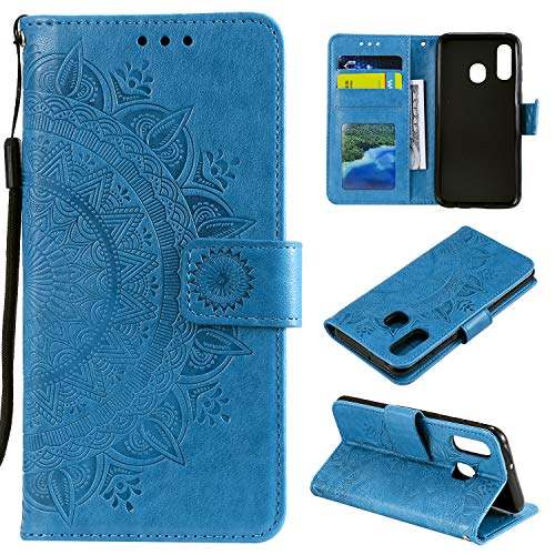 HTDELEC Case Samsung Galaxy A20E Blue Premium Pu Leather Protective Wallet Anti-Slip Slot Wallet Flip Full Body Protective Slim Fit Cover (T-Blue)