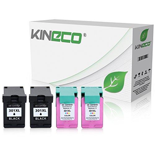 Preisvergleich Produktbild 4 Kineco Tintenpatronen kompatibel zu HP 301XL 301 XL für HP Deskjet 2540, Envy 4500 e-All-in-One, Deskjet 1510, OfficeJet 4630, Deskjet 1010, Envy 5530 eAIO, Officejet 4632 e-All-in-One - Schwarz je 20ml, Color je 21ml