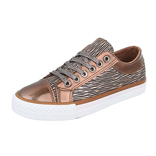 Ocasional As Sapatilhas Calçam Mulheres Bronze Sneaker Baixo Ital Sapatos Laços design top wzC7qXFxf