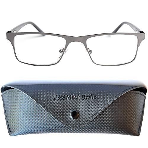 Metall Lesebrille mit rechteckigen Gläsern - mit GRATIS Etui und Brillenputztuch | Edelstahl Rahmen...