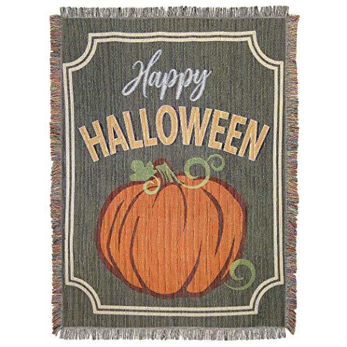 Northwest Halloween, Pumpkin Sign Woven Tapestry, 48