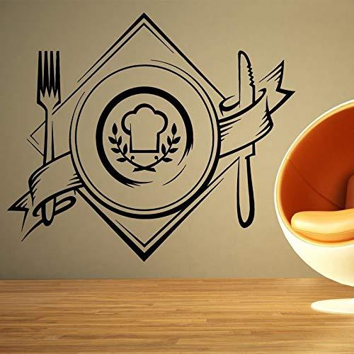 jiuyaomai Zeichen Essen Platte Tapete Aufkleber Für Küche Hintergrund Vinyl Wandtattoos Restaurant Tapete Kunst Dekoration Wandbilder rot 48X42 cm (Essen Chopper Rot)
