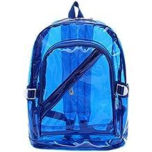 Huihuger donne ragazza Sweety cerniera moda sacchetto di plastica trasparente chiaro zaino da scuola Bookbag (blu)