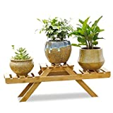 #6: Sharpex Indoor Potted Shelf Natural Wood Plant Stand on Desk for Succulents and Plants Patio Freestanding, 3 Tier (53 X 18 X 18 cm)