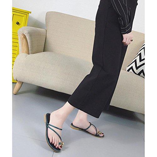 Pantofole set di piedi strass morbido fondo morbido sandali piatti scarpe da spiaggia casual Green
