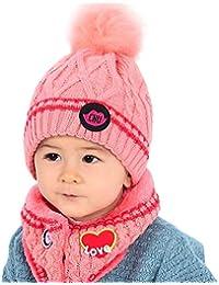 QinMM Berretto da Ragazza Bambino Ragazzi Beanie Sciarpa Invernale Lavorata  a Maglia da Collo Caldi Cappelli 22149dfb28f6