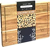 Premium Large Wooden Chopping Board with Juice Groove(41cmX27cmX2cm)-Organic Acacia Cutting Board-Heavy Duty Wooden Serving Tray for Chopping & Serving Meat,Vegetable and Cheese.Lifetime Guarantee.