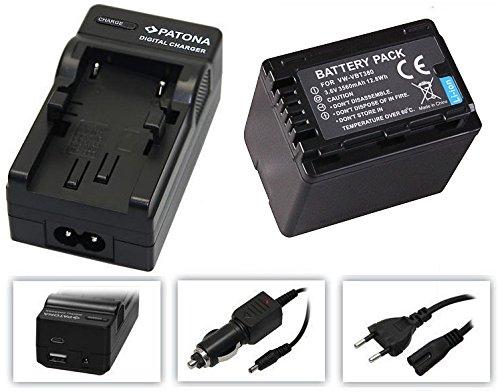 3in1-SET für die Panasonic HC-V777EG und HC-V380EG Camcorder --- Akku für VBT380 (3560mAh) + 4in1 Ladegerät (u.a. mit USB / micro-USB und Kfz/Auto) inkl. PATONA Displaypad Hc-bundle