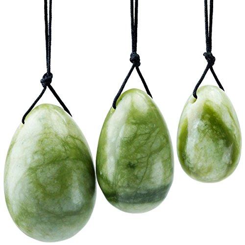 Shanxing Naturel Jade Vert Oeuf de Yoni Ensemble de 3 Pièces avec Ficelle,Massage Pierre d'exercice Oeuf pour Femme pour Renforcer Muscles du Plancher Pelvien