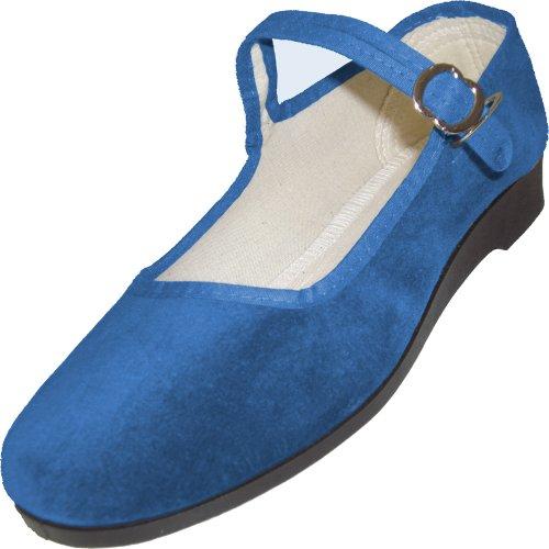 China-Samtschuhe, Größen 33 - 42, viele Farben Jeansblau