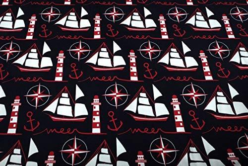 Meer Erwachsene Sweatshirt (Qualitativ hochwertiger Jersey La Meer Maritimer Druck als Meterware zum kreativen Nähen von Erwachsenen- und Kinderbekleidung, 50 cm)