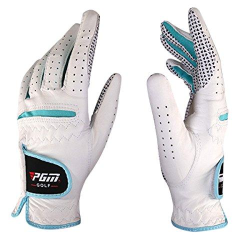 Feoya Damen Luxus-Golf Handschuhe für Beide Hände Cabretta-Leder Lady Golf Glove-Gr. S bis 2X L, Damen, Weiß/Blau, Medium