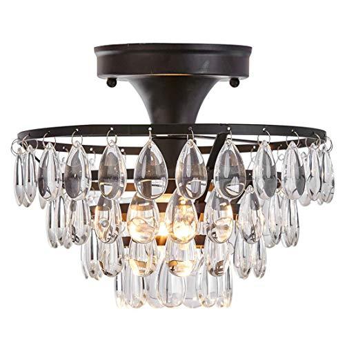Schmiedeeisen Kristall Anhänger Kronleuchter Deckenleuchte, LED Schwarzglas Eisen Lampenschirm Moderne Antike Wohnzimmer Küche Veranda Korridor Leuchte -