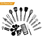 NexGadget Premium 25-Piece Kitchen Utensils Sets Stainless Steel And Nylon Cooking Tools Including Spoons, Turners, Tongs, Spatulas, Pizza Cutter, Whisk, Bottle Opener, Grater, Can Opener, Peeler, Measuring Cups and Spoons