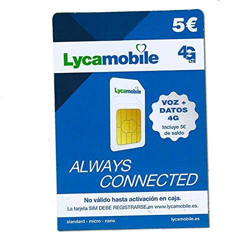 Tarjeta SIM Lycamobile - 5€ de saldo - llamadas nacionales e internacionales...