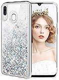 wlooo Cover per Samsung Galaxy A40, Cover Samsung Galaxy A40, Glitter Bling Liquido Sparkly Luccichio Pendenza TPU Silicone Protettivo Morbido Brillantini Quicksand Custodia Case (Argento)